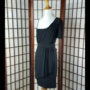 EN FOCUS Embellished Shoulder Black Dress
